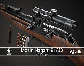 PBR Soviet Mosin Nagant 91-30 Sniper 3D model