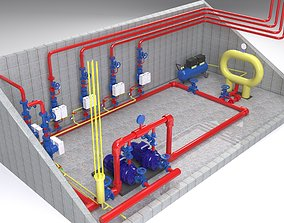 Fire-fighting pumping station 3D model