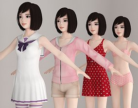 T pose nonrigged model of Harumi with various outfit