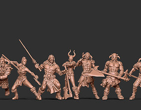 Barbarian bundle - 7 miniatures - 35mm 3D print model