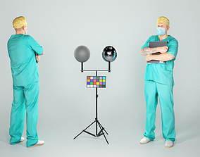 3D asset realtime Male surgical doctor with a folder 41
