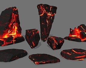 3D asset realtime lava rock plant