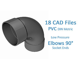 3D model PVC Low Pressure Elbows 90 Degrees - Socket Ends