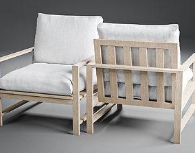 Modern Farmhouse Wood Outdoor Lounge Chair 3D