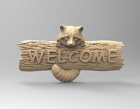 Raccoon Set 2 - Front door decor - 3D printable model 1