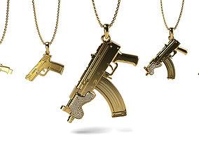 3D printable model Gun Pendant bundle