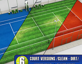 3D Tennis court stadium arena pack