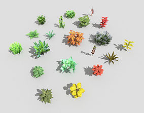 3D asset realtime tree low poly plants collection