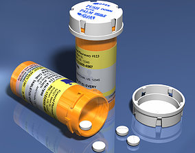 3D asset Prescription Pill Bottle with Editable Text 01