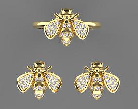 bee earrings ring 3D print model