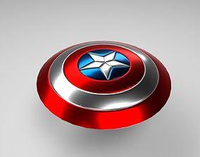 3D asset low-poly Captain America Shield