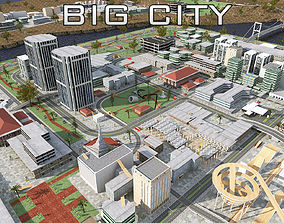 BIG CITY SCENE - Low Poly Mega City Roads 3D model 2