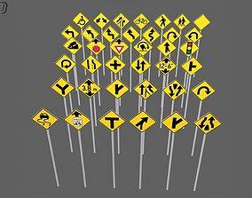 38 Road signs 3D asset