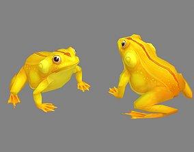 3D asset Cartoon golden frog