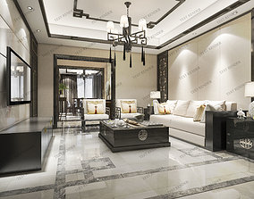 classic chinese modern luxury living room with tv 3D