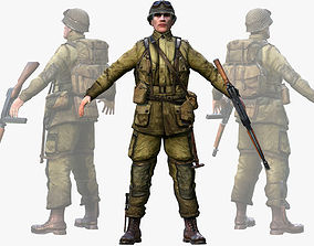 3D asset WWII American Soldier