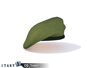 VR / AR ready Military Beret Green Lowpoly 3D Model Hat