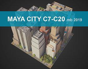 3D model City District C7-C20 MAYA