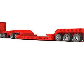 3D model Semi Truck with Lowboy Trailer