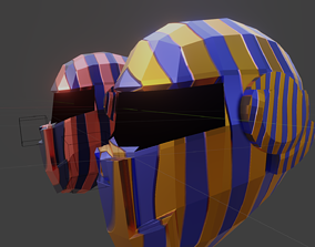 3D asset game-ready sci-fi helmet