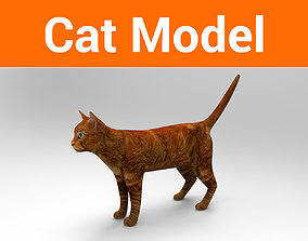 realtime Cat game ready low poly model 3D