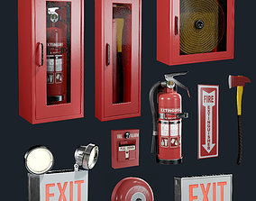 Fire Equipment Exit Sign Extinguisher Set Game 3D asset