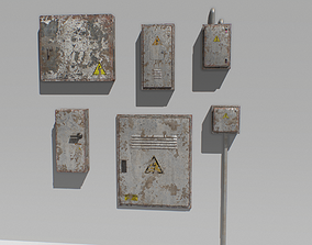 3D model Old and Rusty Electrical Box Pack 1