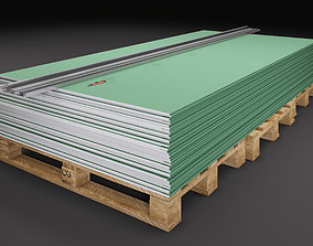 Drywall Sheets with iron profiles 3D model