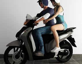 women 3D man riding motorbike with girlfriend behind