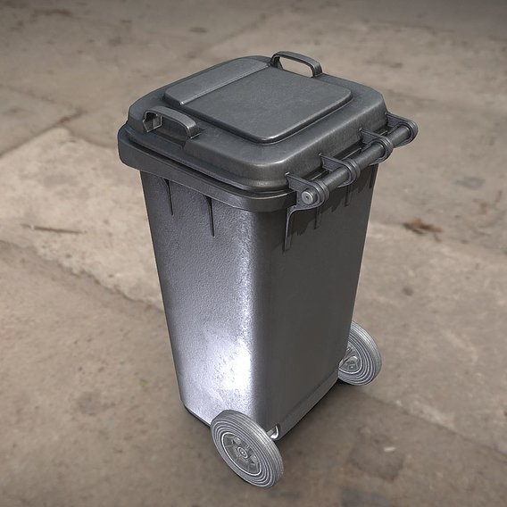 Black Plastic Waste Bin 120 Liters 945x393x480