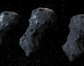 3D Detailed asteroids high-poly set