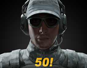 3D asset rigged game-ready Soldier