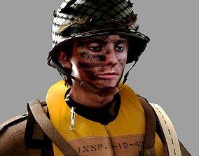 3D World War 2 US Paratrooper
