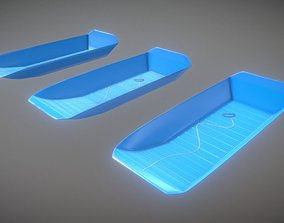 3D model Game Ready Rectangular Sled Blue Winter Toy Low 2