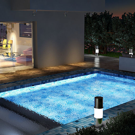 A nocturnal sight of the pool