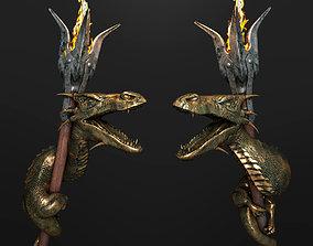 Dragon torch 3D model metal