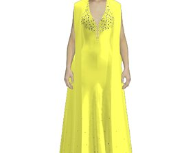 Yellow cape studded gown 3D