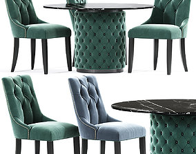 Chesterfield Dining Table Chair Set 3D