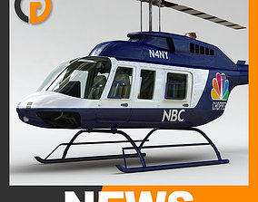 Helicopter News Bell 206L with Interior 3D model