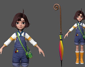 A animation cartoon model of a cute girl by maya 3D