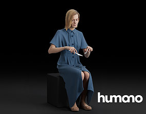 Humano Sitting and eating woman 0612 3D