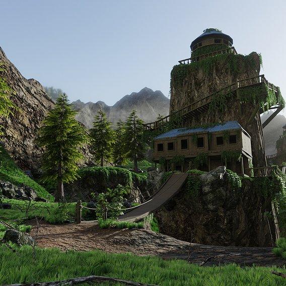 House on Mountain Scene | Scene 18 v2