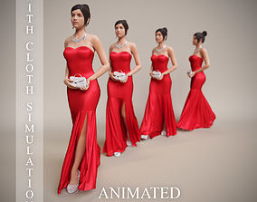 3D animated woman in evening dress walk