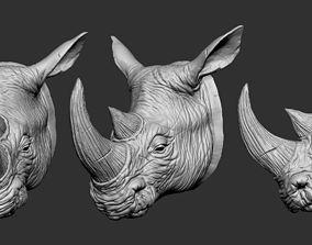 Rhino Head sculptures 3D printable model