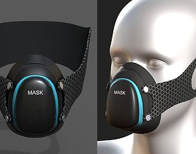 Gas mask protection isolated futuristic 3D model