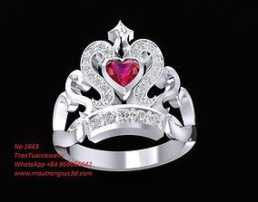 1463 Diamond Crown Ring 3D print model