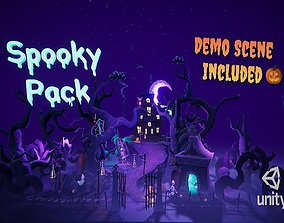 Cartoon spooky low poly 3D models low-poly