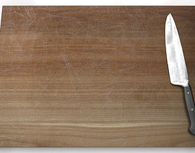 Cutting Board and Knife 3D asset