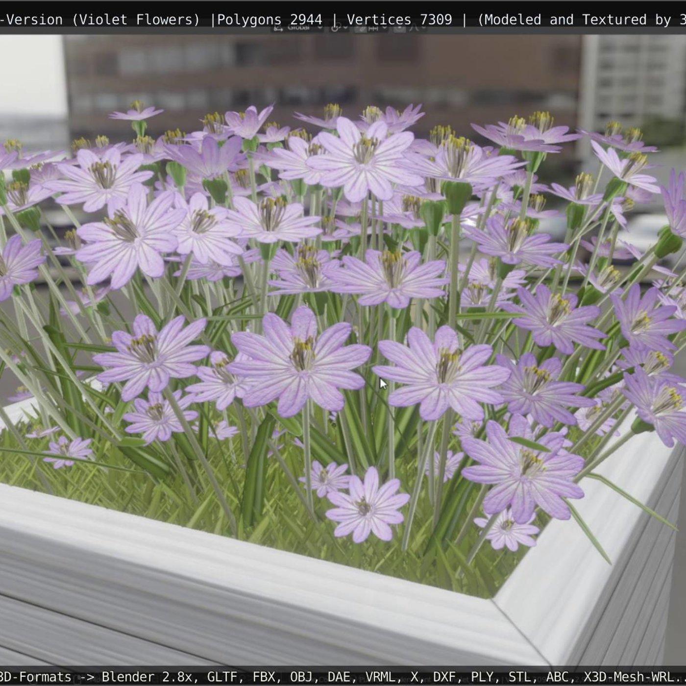 Public Plant Pot Wood-Version with Violet Flowers