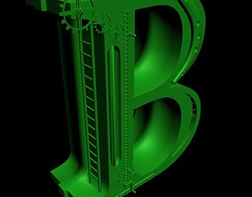 Print ready STEAMPUNK Alphabet Letter B